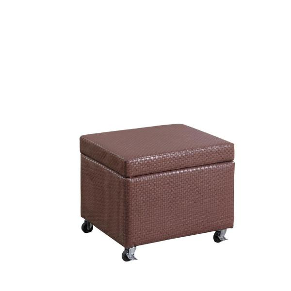 undefined Auburn Brown Basketweave Leatherette Filing Storage Ottoman Seat