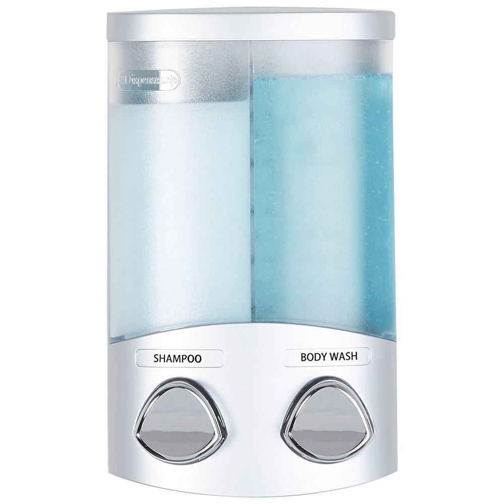 Duo 11 oz. Plastic Soap/Lotion Dispenser in Satin Silver