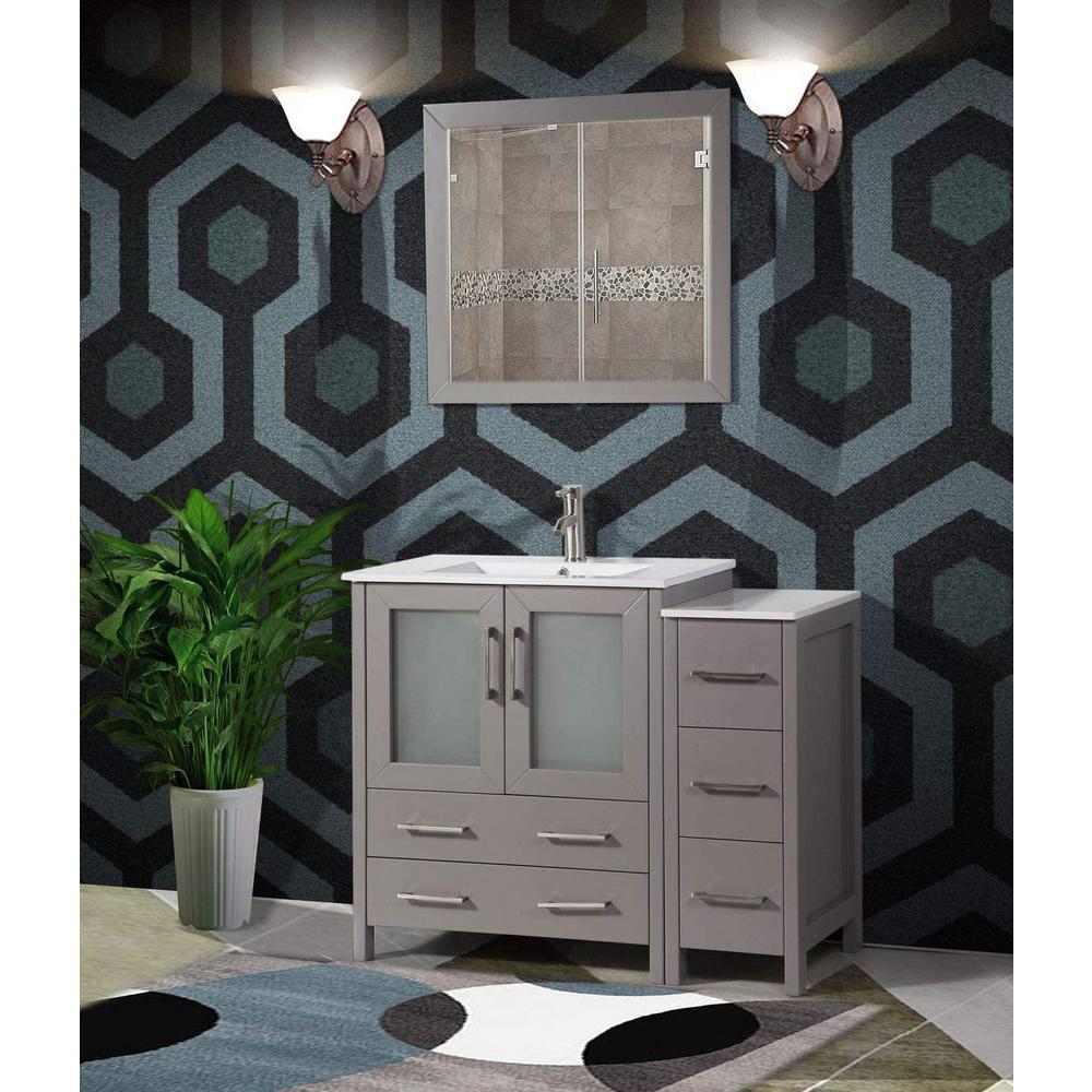 Brescia 42 in. W x 18 in. D x 36 in. H Bathroom Vanity in Grey with Single Basin Vanity Top in White Ceramic and Mirror