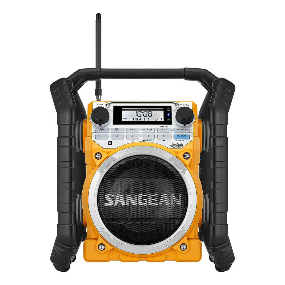 Sangean AM/FM/Bluetooth/Aux-In Ultra Rugged Smart Rechargeable Digital  Tuning Radio in Yellow