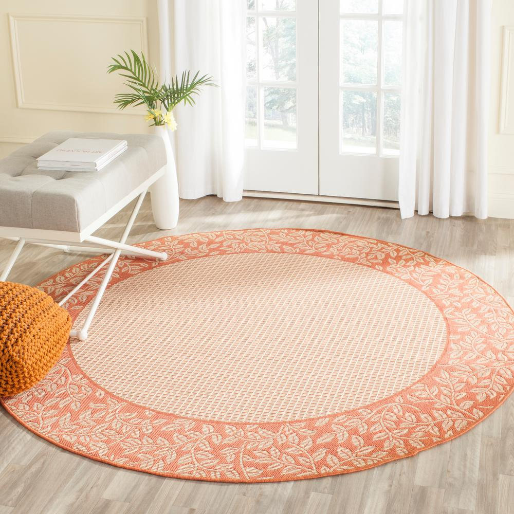 Outdoor Rug 7 X 10: Safavieh Courtyard Natural/Terracotta 7 Ft. 10 In. X 7 Ft