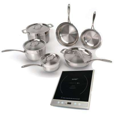 Earthchef Premium 15 in. Induction Cooktop Set in Silver and Black with 1-Element