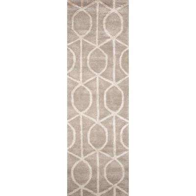 Hand-Tufted Drizzle/Star White 3 ft. x 8 ft. Trellis and Chain Runner Rug