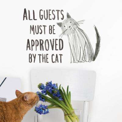 Grey Cat Approved Wall Quote Decal