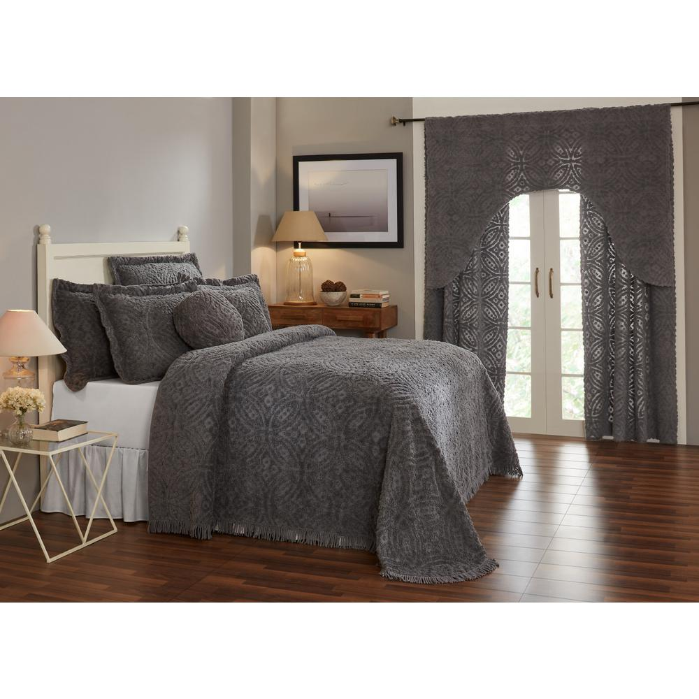 Double Wedding Ring Collection & Design Gray King 100% Cotton Tufted Unique Luxurious Soft Plush Chenille Bedspread