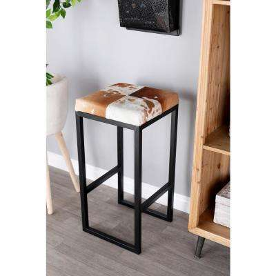 29 in. Walnut Brown Square Bar Stool with White Accents