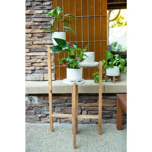 Flora Bunda 30 In H Brown Terrazzo And Wood 3 Tired Plant Stand Fr313e Neu The Home Depot