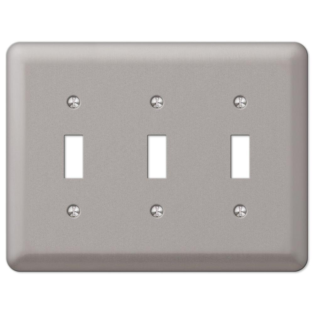 Electrical Wall Plates Hampton Bay Steel 3 Toggle Wall Plate  Pewter2Tttpw  The Home Depot
