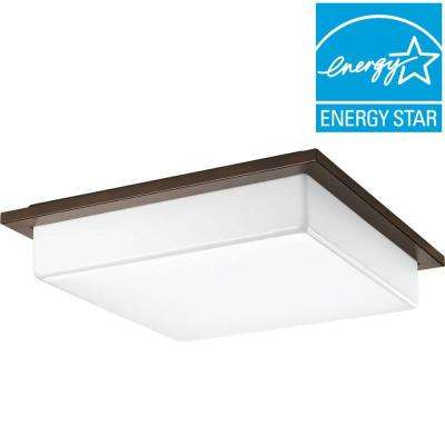 18 in. Transit Collection 3-Light Antique Bronze Integrated LED Flushmount