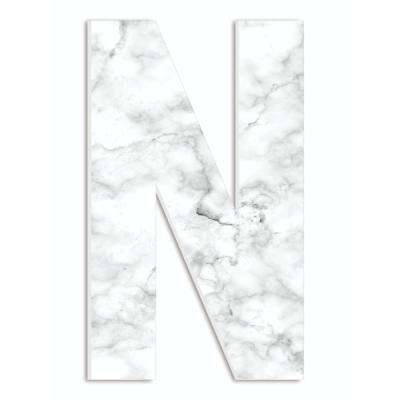 """12 in. x 18 in. """"Modern White and Grey Marble Patterned Initial N"""" by Artist Daphne Polselli Wood Wall Art"""