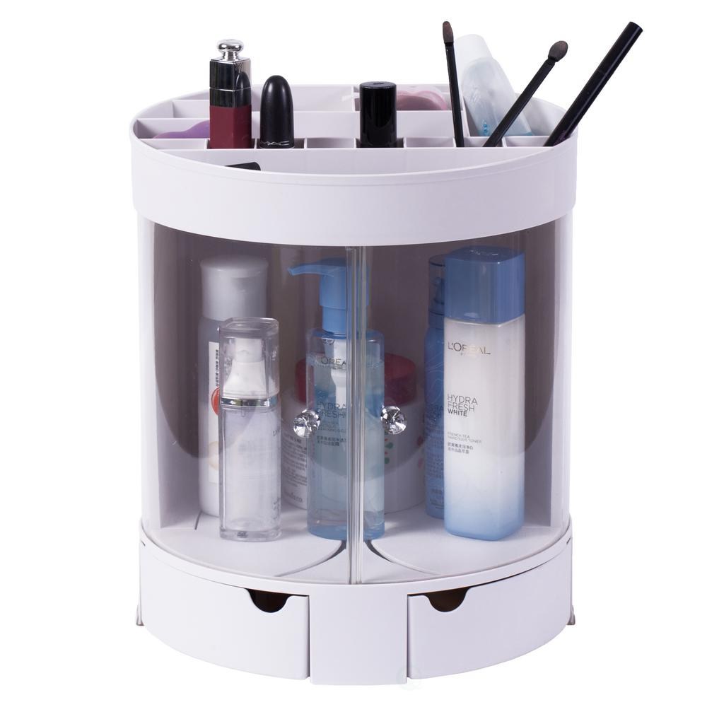 Plastic Makeup Organizer with Sliding Doors in White