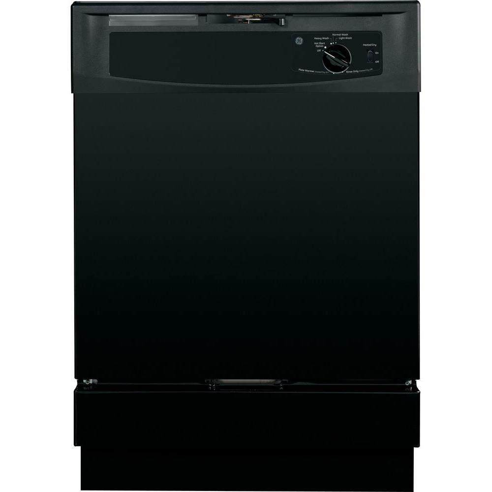 GE Built-In Front Control Dishwasher in Black GE appliances provide up-to-date technology and exceptional quality to simplify the way you live. With a timeless appearance, this family of ENERGY STAR Qualified appliances is ideal for your family. And, coming from one of the most trusted names in appliances, you know that this entire selection of appliances is as advanced as it is practical. Color: Black.