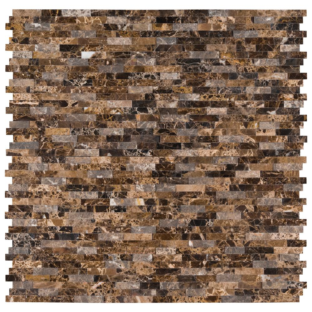 Msi Emperador Split Face Peel And Stick 12 In X 12 In X 6mm Matte Marble Mesh Mounted Mosaic Tile 15 Sq Ft Case Pns Empsf 6mm The Home Depot