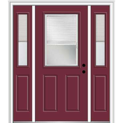 64.5 in. x 81.75 in. Internal Blinds Left-Hand Inswing 1/2-Lite Clear Painted Steel Prehung Front Door with Sidelites