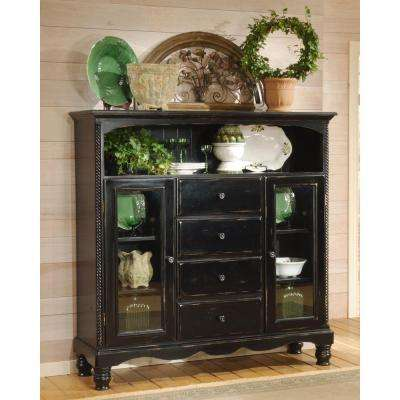 Assembled 63.625 in. W x 61 in. H x 18 in. D Wilshire Wood Four-Drawer Baker's Cabinet in Rubbed Black