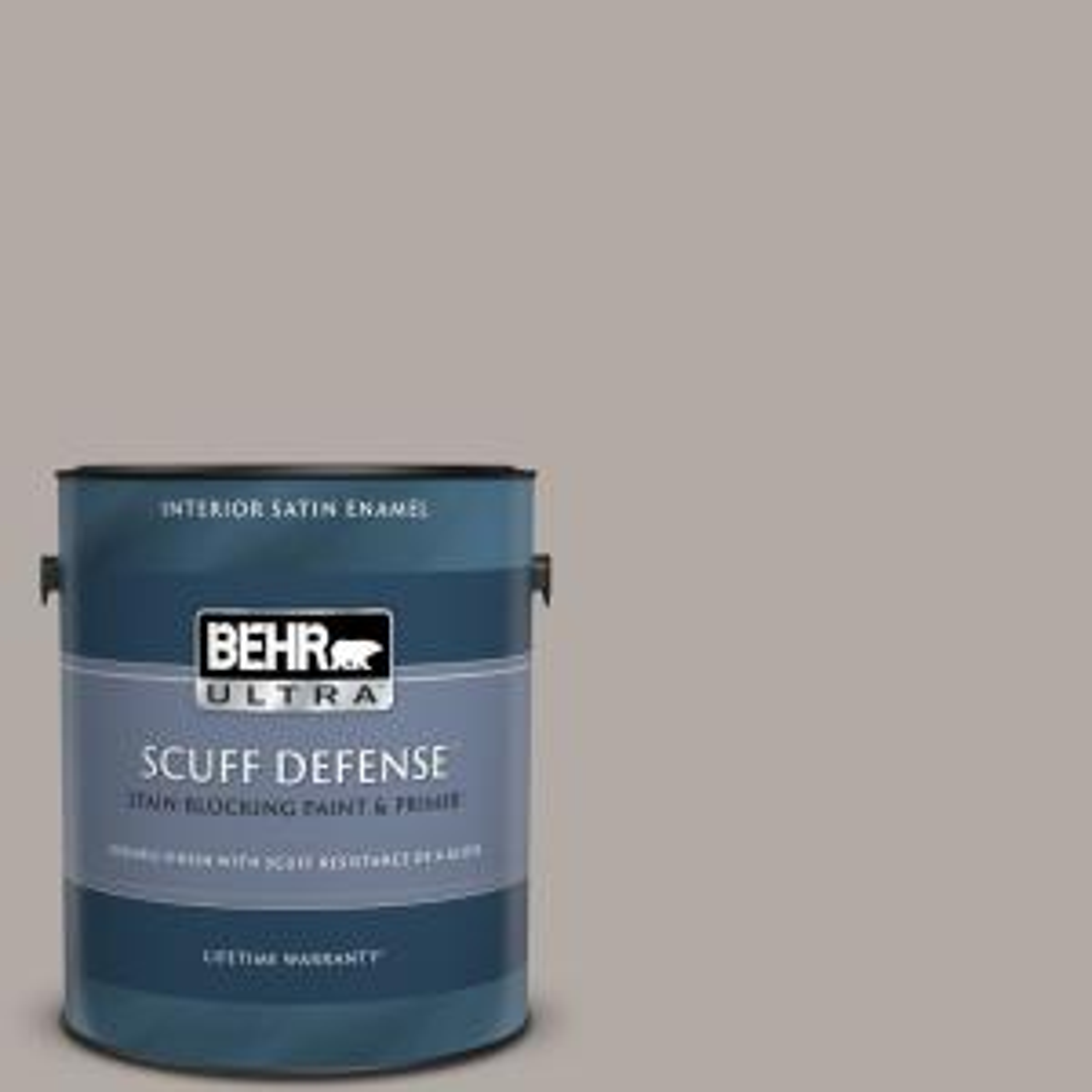 Behr Ultra 1 Gal N140 3 Metropolis Extra Durable Satin Enamel Interior Paint Primer 775401 The Home Depot