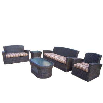Savannah 5-Piece Patio Seating Set with Striped Maroon Cushions