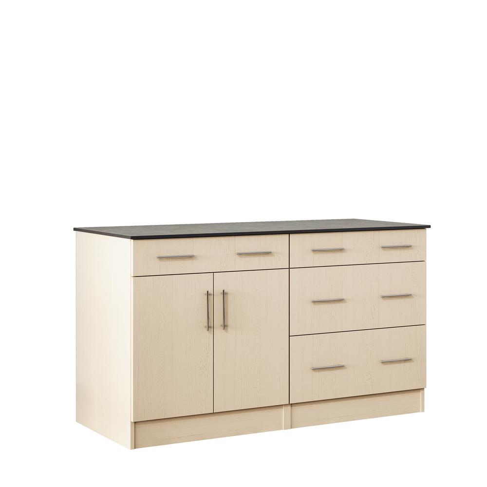 WeatherStrong Miami 59.5 in. Outdoor Cabinets with Countertop 2-Door and 2-Drawer in Sand