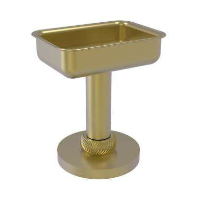 Vanity Top Soap Dish with Twisted Accents in Satin Brass