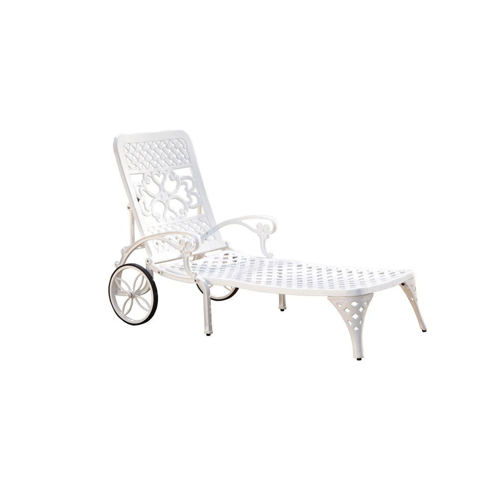 Biscayne White Patio Chaise Lounge