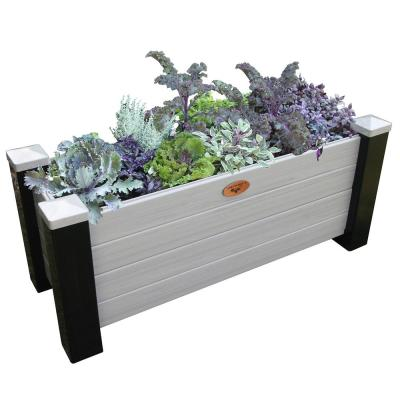 18 in. x 48 in. x 20 in. Maintenance Free Black and Gray Vinyl Planter Box