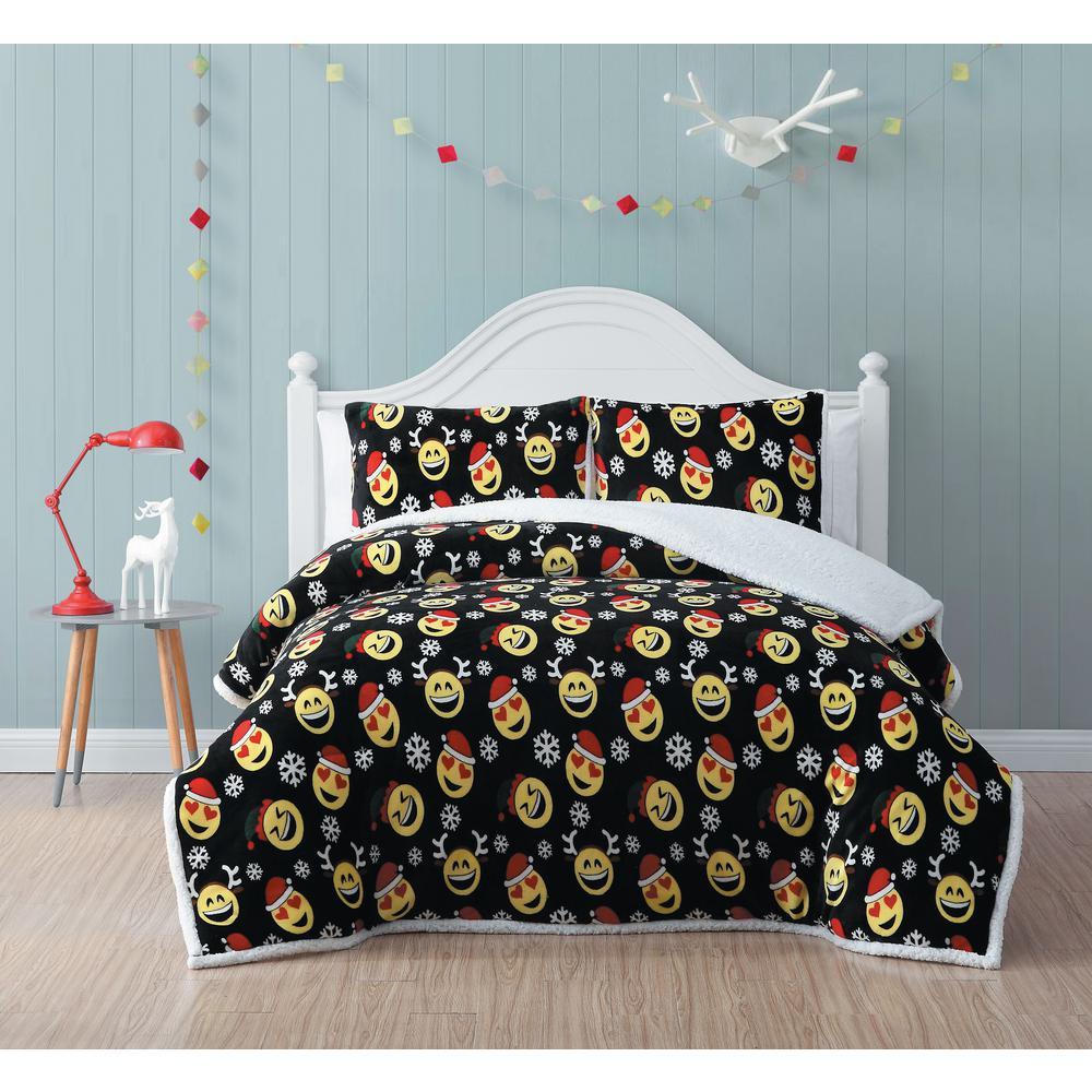 Jolly Emoji Black Twin Plush/Sherpa Comforter Set