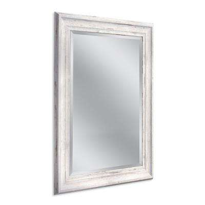 Farmhouse 31 in. W x 43 in. H Framed Wall Mirror in White
