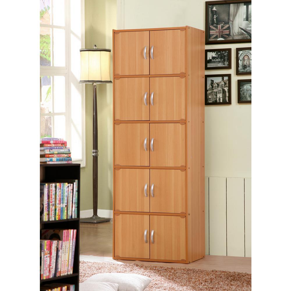 5-Shelf, 67 in. H Beech Bookcase with Double Doors