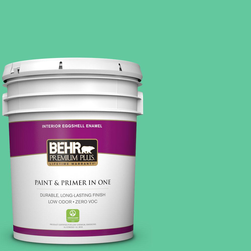 BEHR Premium Plus 5-gal. #470B-4 Intense Jade Zero VOC Eggshell Enamel Interior Paint