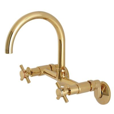 Modern Adjustable Center 2-Handle Wall-Mount Standard Kitchen Faucet in Polished Brass