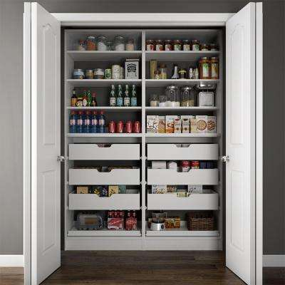 60 in. W x 15 in. D x 84 in. H Dual Wood Pantry Combination Organizer Kit with Roll-Outs in White