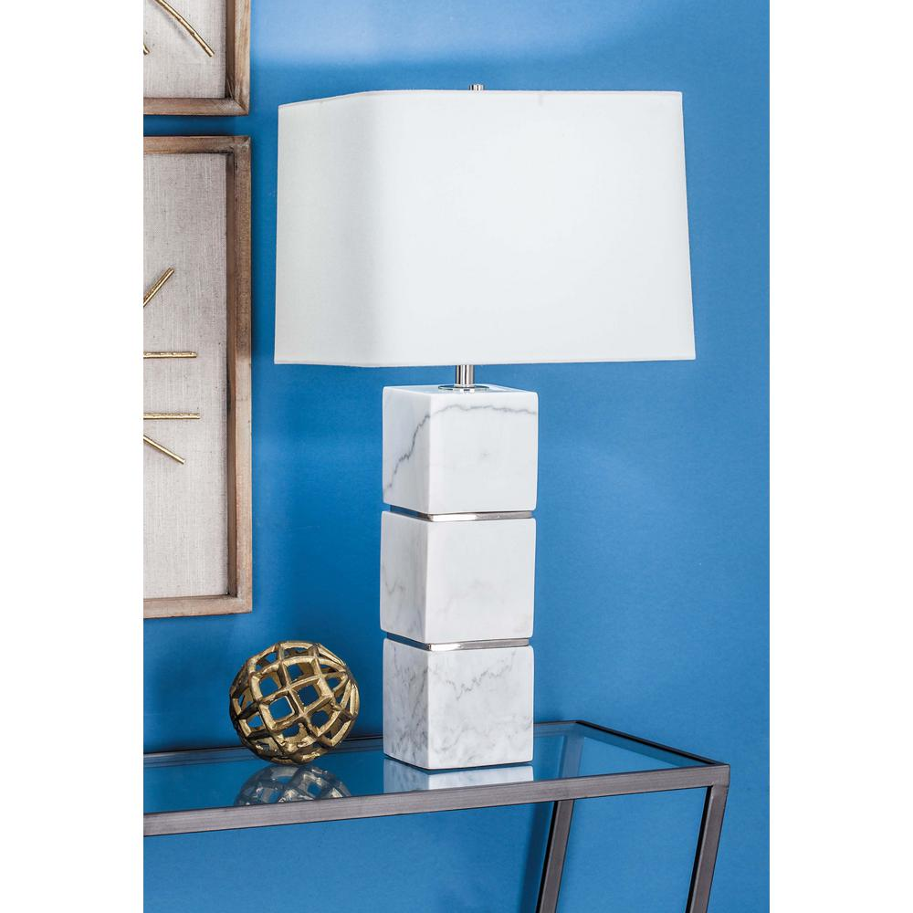 Modern White Marble Table Lamp With Stacked White Marble Cubes