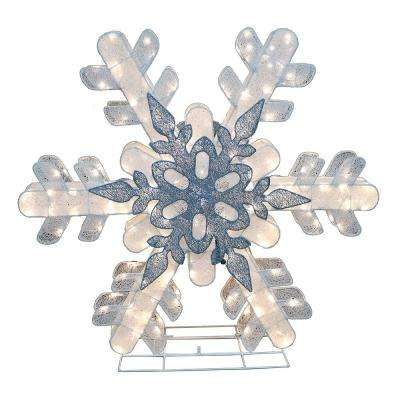 "48""H Fabric Mesh Snowflake with 236 Warm White LED's, including 47 pcs Twinkling Bulbs, UL DC adaptor :29V,0.448A"