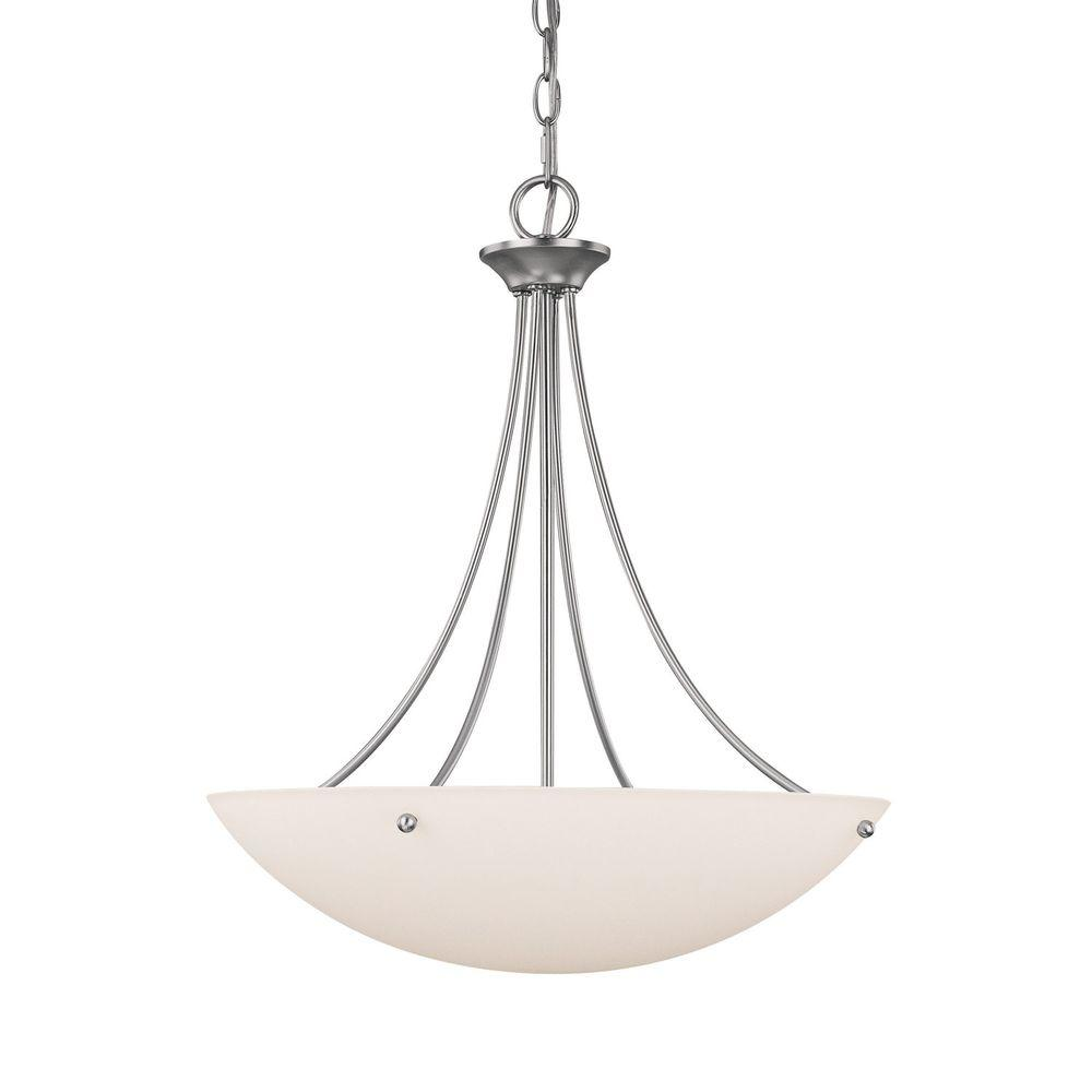Filament Design 3-Light Matte Nickel Pendant with Soft White Glass Shade-DISCONTINUED