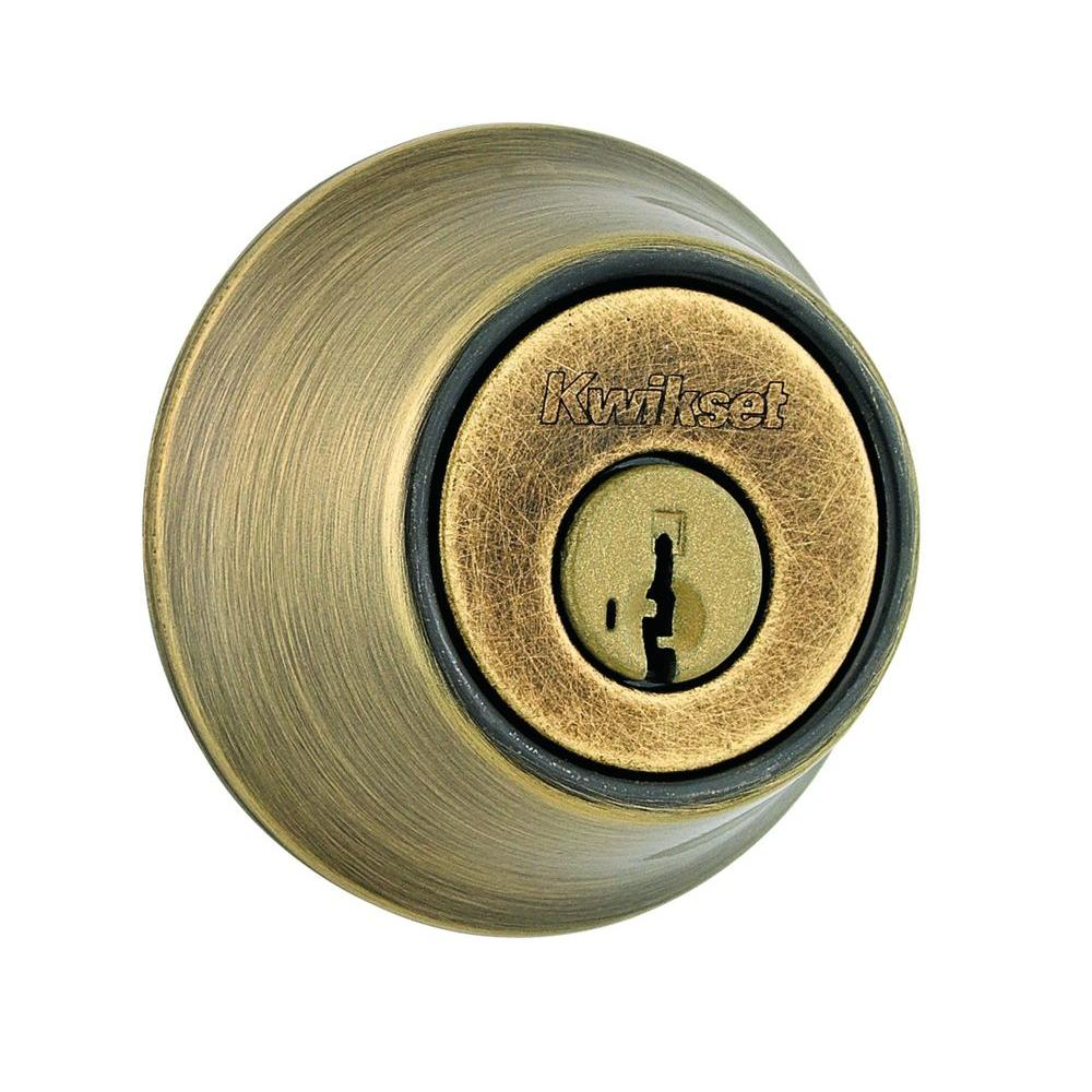 660 Series Antique Brass Single Cylinder Deadbolt Featuring SmartKey Security