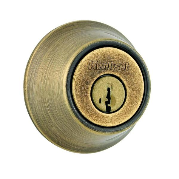 660 Series Antique Brass Single Cylinder Deadbolt Featuring SmartKey Security with Microban Antimicrobial Technology