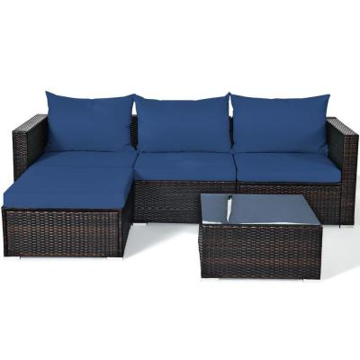 Outdoor 5-Piece Wicker Sectional Set Conversation Sofa with Navy Cushion