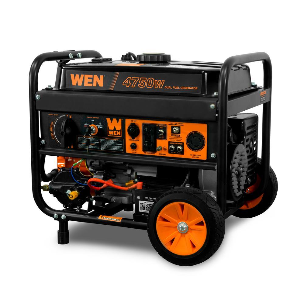 Wen Generators Outdoor Power Equipment The Home Depot Plan B Electrical Whistler 4750 3800 Watt 120 Volt 240 Dual Fuel Gasoline And