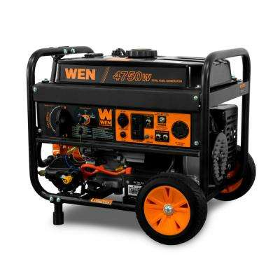 3,800-Watt 120-Volt/240-Volt Dual Fuel Gasoline and Propane Powered Electric Start Portable Generator with Wheel Kit