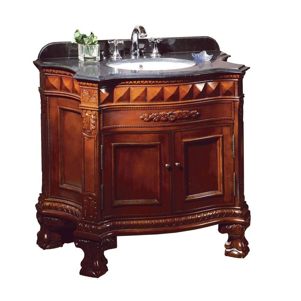 Ove Decors Buckingham 36 In Vanity In Dark Cherry With Granite Vanity Top In Black Buckingham
