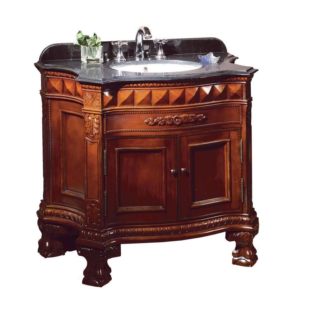 OVE Decors Buckingham 36 inch Vanity in Dark Cherry with Granite Vanity Top in Black by OVE Decors