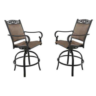 Tuscan Estate Swivel Aluminum Outdoor High Dining Chair in Heather Brown Sling (2-Pack)