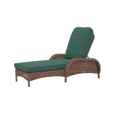 Beacon Park Brown Wicker Outdoor Patio Chaise Lounge with CushionGuard Charleston Blue-Green Cushions