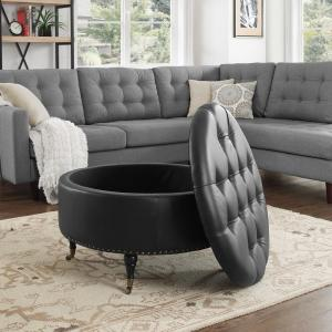 Stupendous Inspired Home Renata Black Gold Pu Leather Tufted Nailhead Dailytribune Chair Design For Home Dailytribuneorg