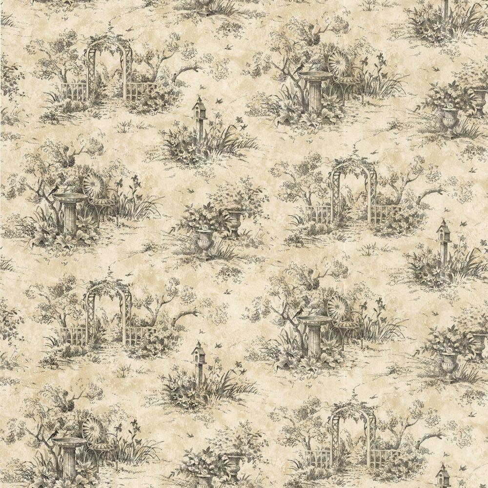 The Wallpaper Company 56 sq. ft. Black Country Toile Wallpaper-DISCONTINUED