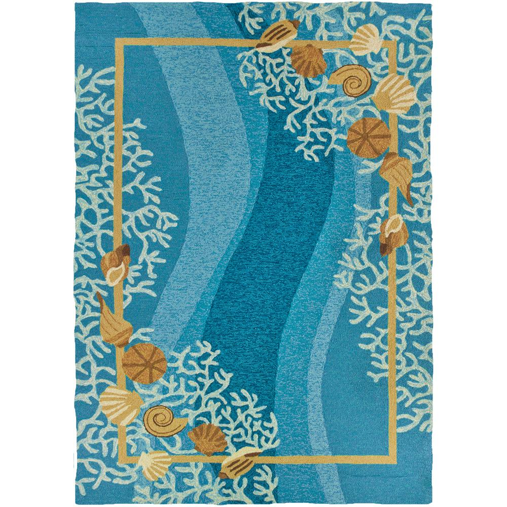 Shells White Coral Blue 5 Ft X 7 Ft Indoor Outdoor Area Rug Pp