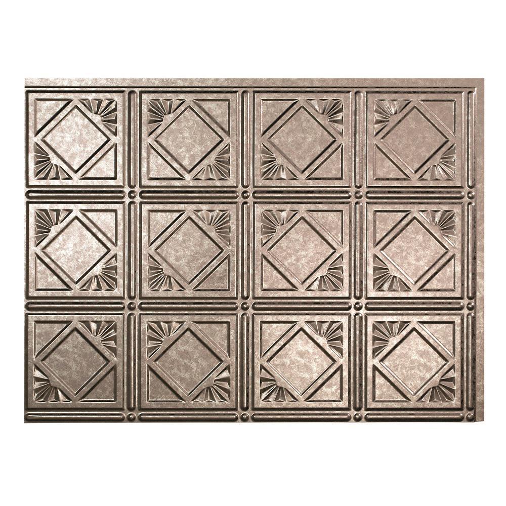 Fasade 24 in. x 18 in. Traditional 4 PVC Decorative Backsplash Panel in Galvanized Steel