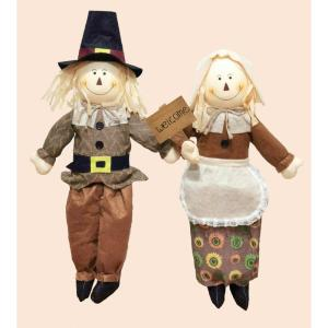 24 in. Sitting Boy And Girl Pilgrim Holding a Welcome Sign