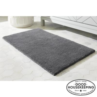 Charcoal 17 in. x 24 in. Cotton Reversible Bath Rug