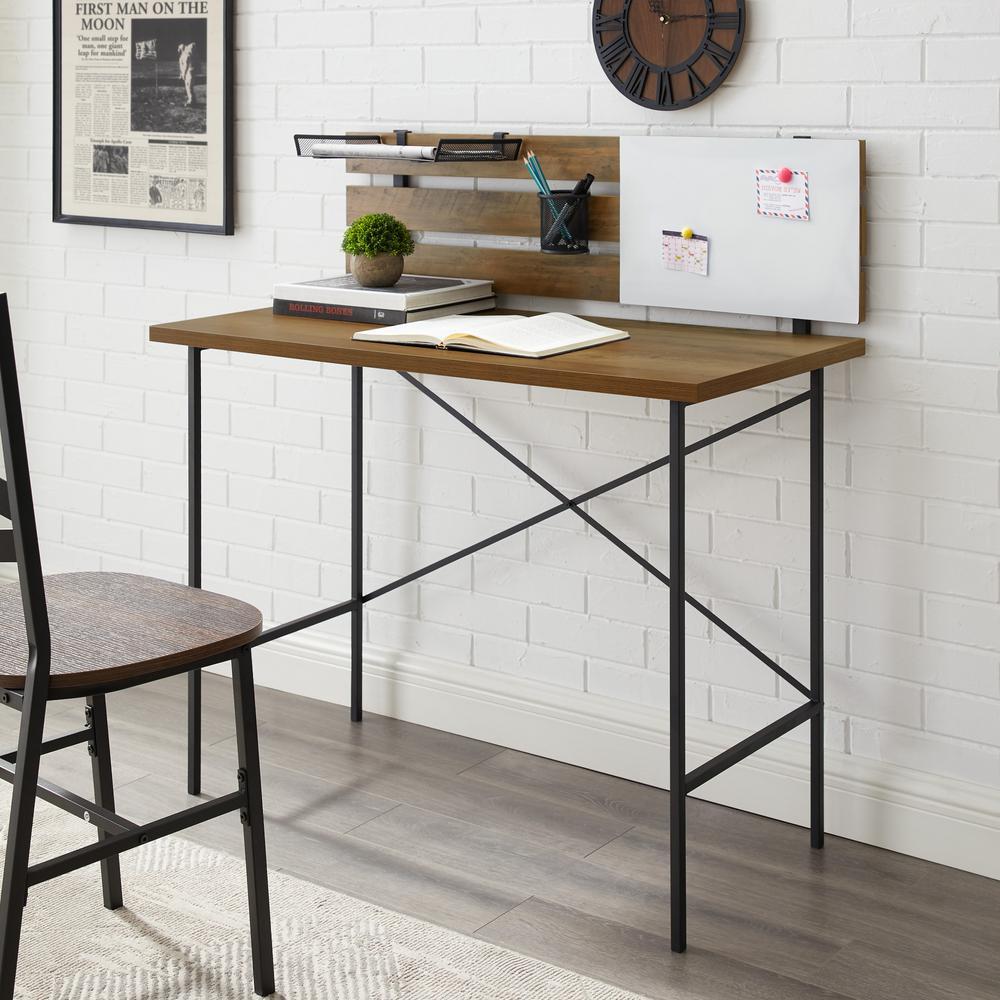 Welwick Designs Reclaimed Barnwood Modern Writing Desk With Slat Back Adjustable Storage